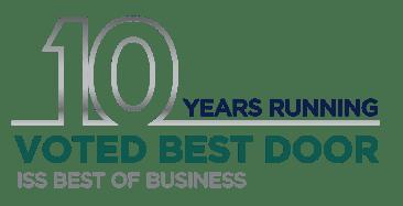 10 years voted best door logo