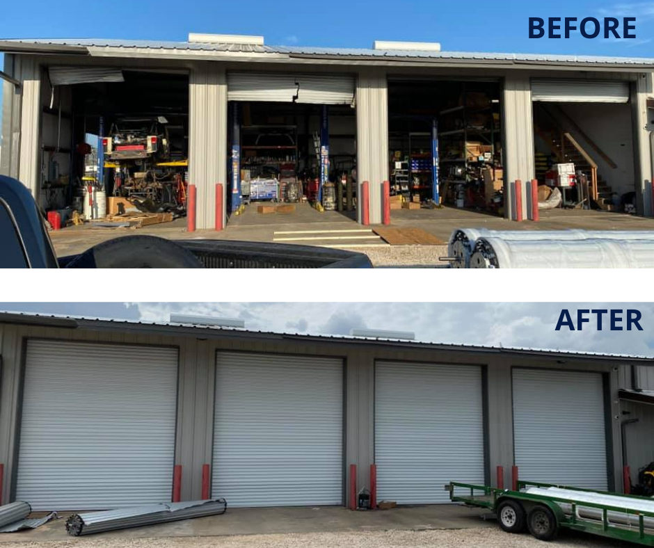 Damaged Commercial Steel Doors from Hurricane Laura Before and After