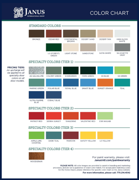 Janus color chart with thirty-six color options