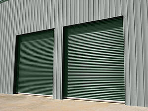 Green Commercial Doors on Warehouse
