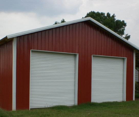 Red Shed with two Commercial Steel Doors
