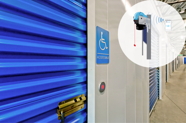A smart storage unit door with automatic opener and ADA sign.