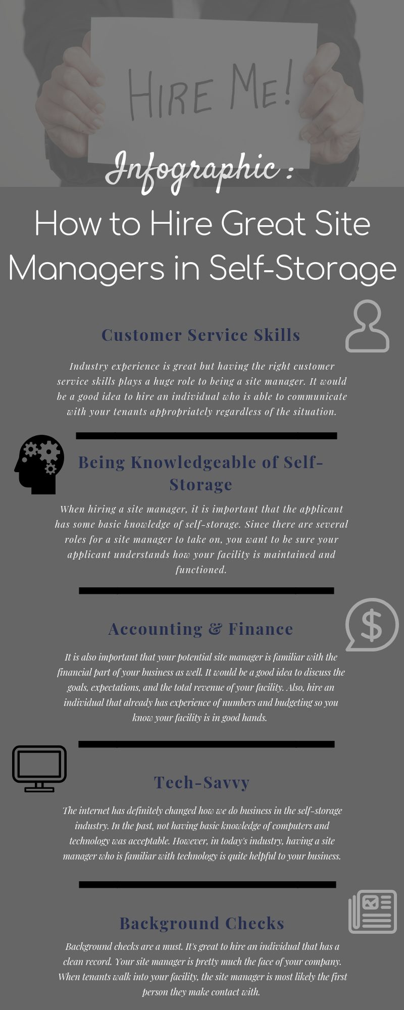 Infographic explaining 5 things to look for in a self storage site manager