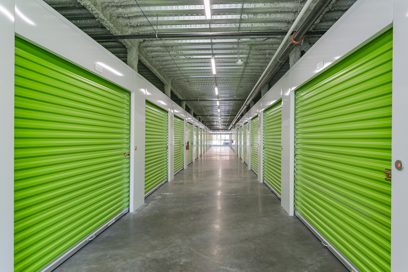 bright green self storage doors