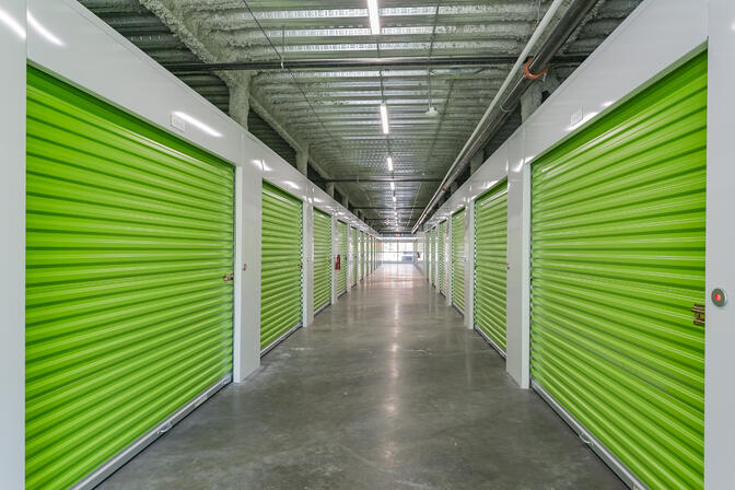 Lime green storage units with smart electronic locks