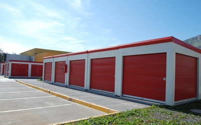 Red relocatable storage units from Janus International