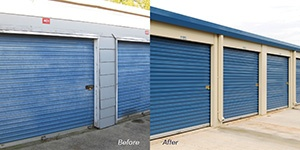 Before and after photo of Janus International blue roll-up doors