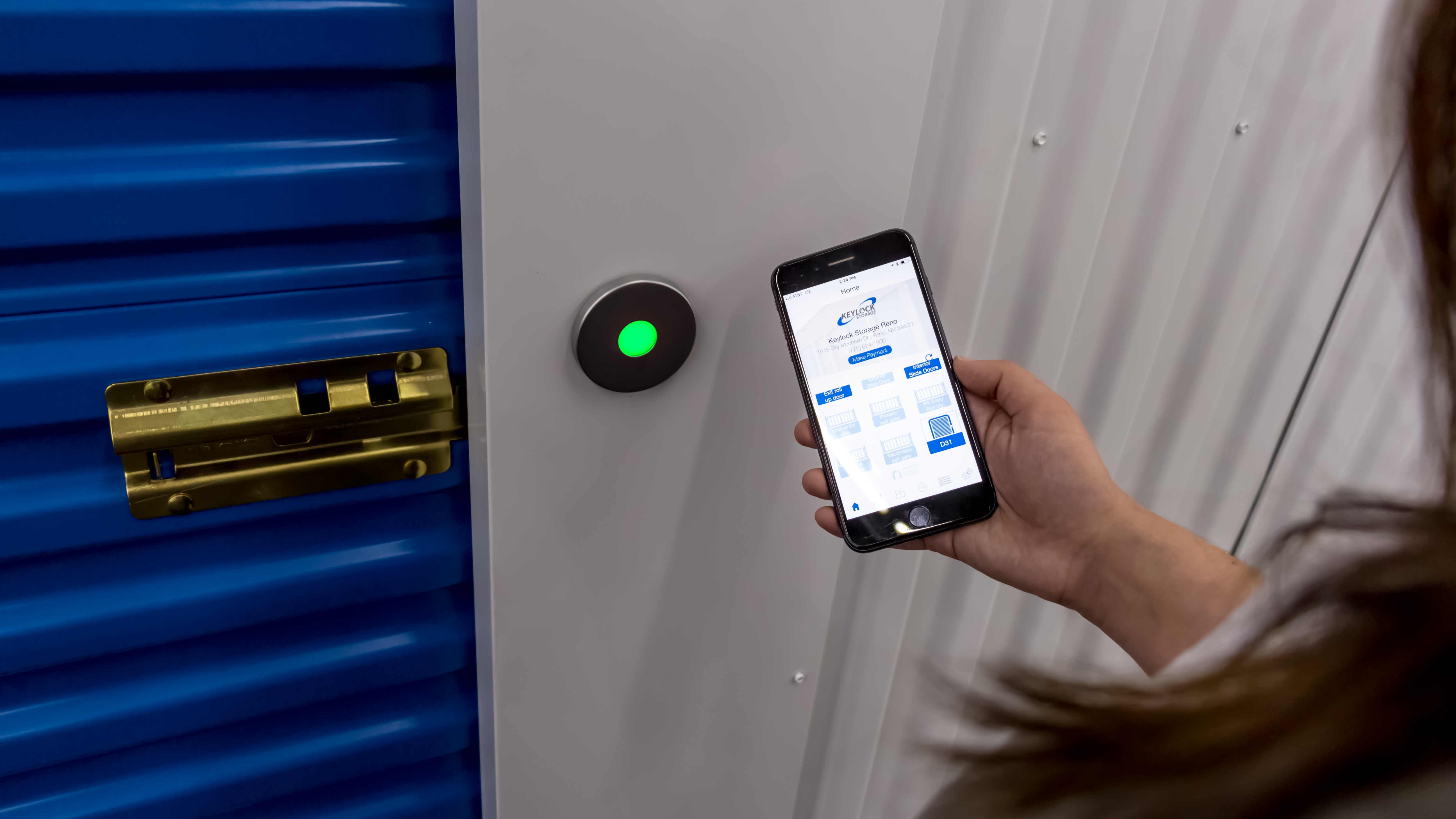 Smart entry technology being used to open self-storage door
