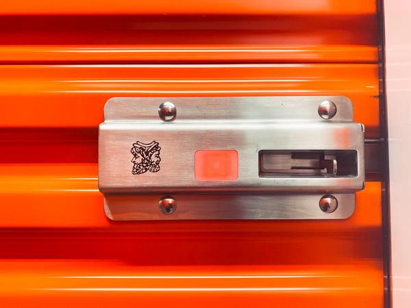 A smart storage unit door lock.