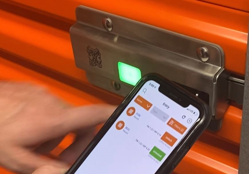 Nokē ONE lock on Orange Self-Storage Door