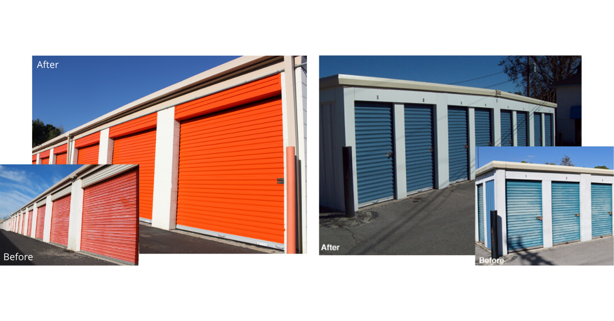 image of self storage door replacement before and after