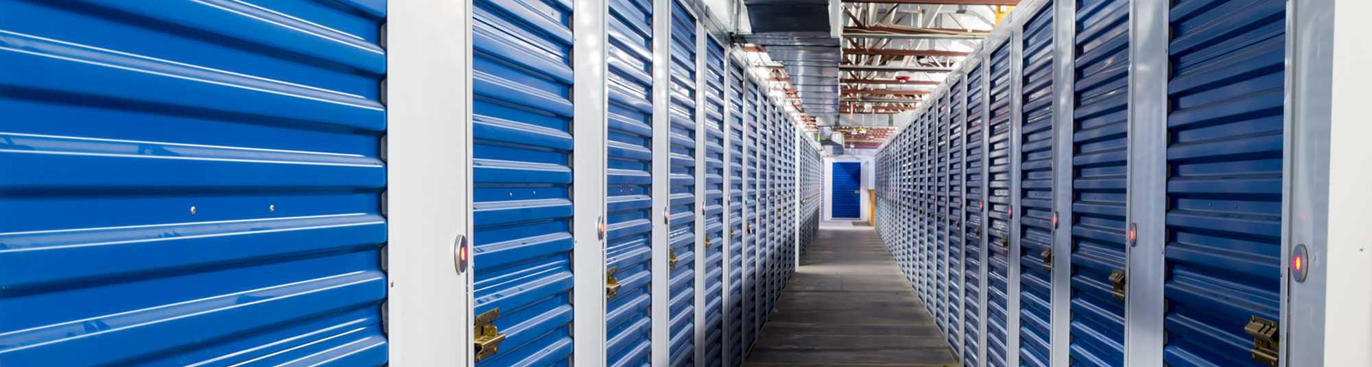 Hallway with self storage doors equipped with Noke Smart Entry system locks
