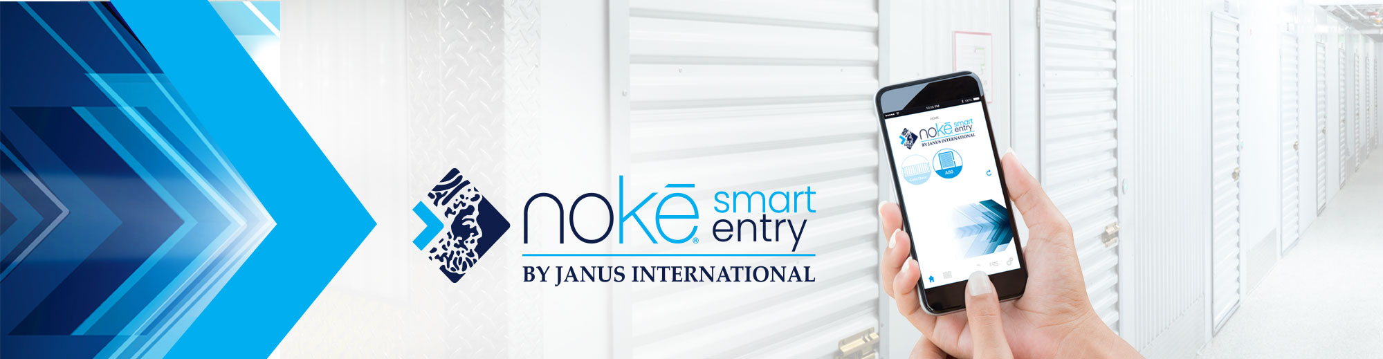 Noke Smart Entry system with self storage units in background