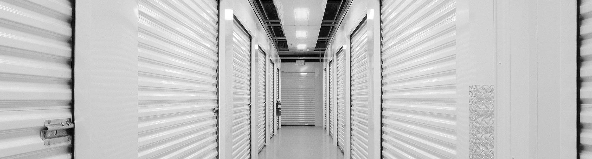 Hallway interior with self-storage doors