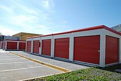 portable storage units in parking lot