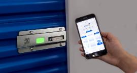 Janus smart lock on blue self storage door